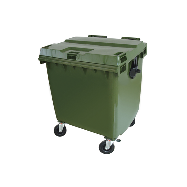Contenedor plástico de 660 lts sin pedal. Verde