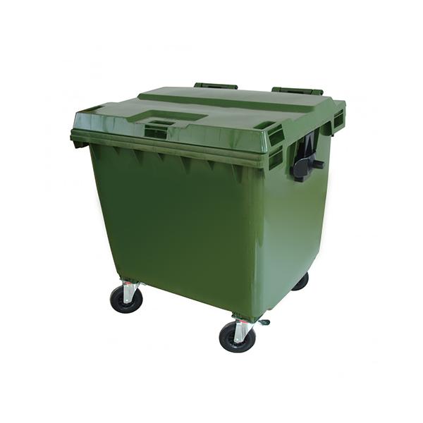 Contenedor plástico de 1000 lts sin pedal. Verde