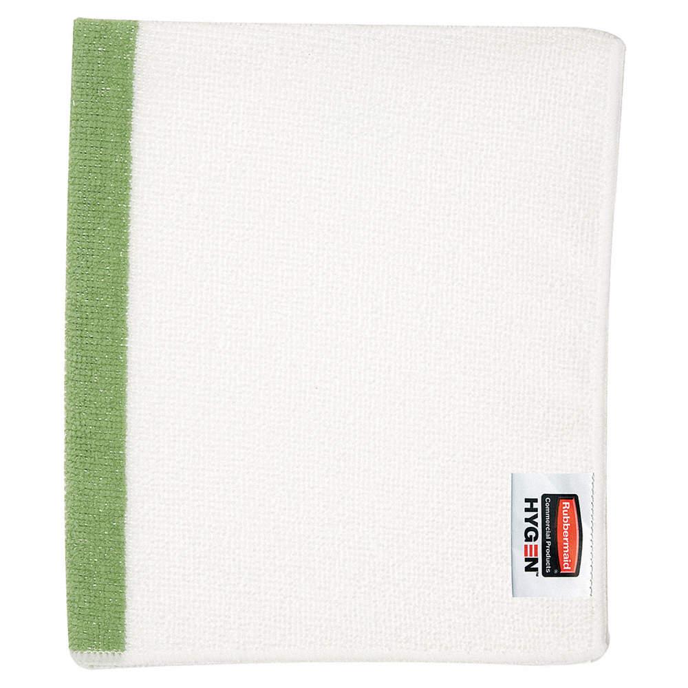 Paño de microfibra Blanco con linea de color Verde