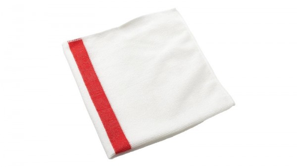 Paño de microfibra Blanco con linea de color Roja