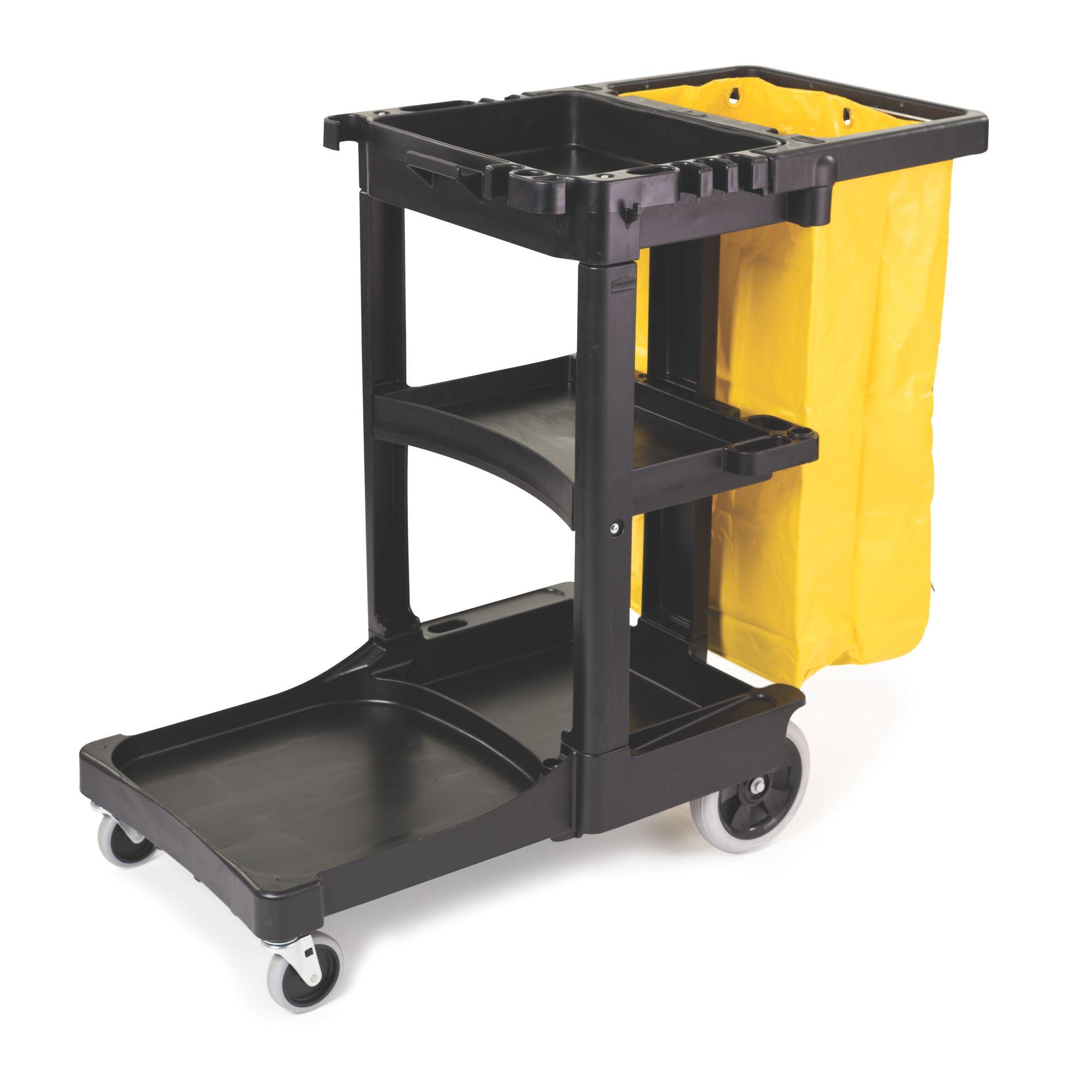 Carro de limpieza con 3 estantes y Bolsa de vinilo amarillo