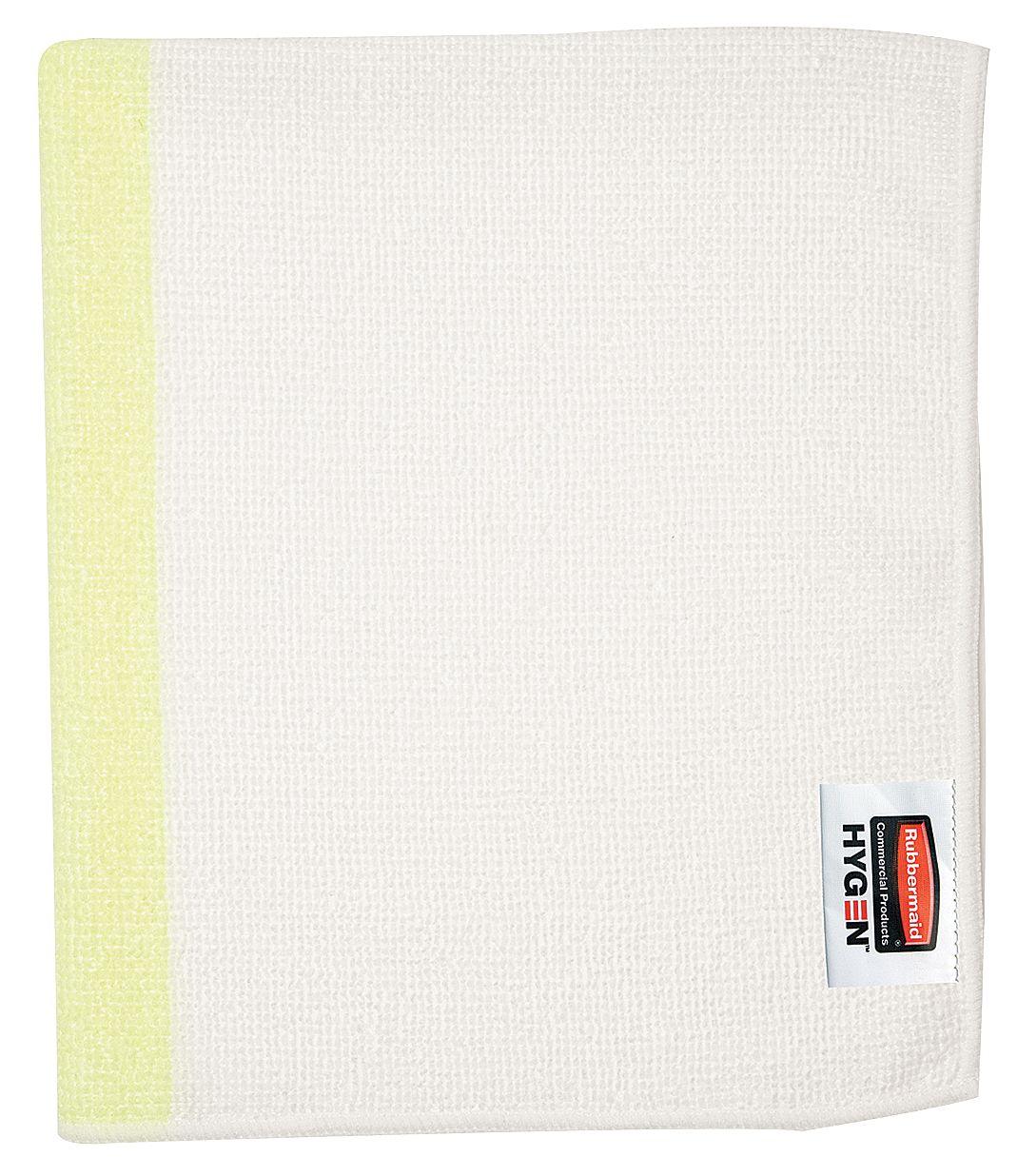 Paño de microfibra Blanco con linea de color Amarilla