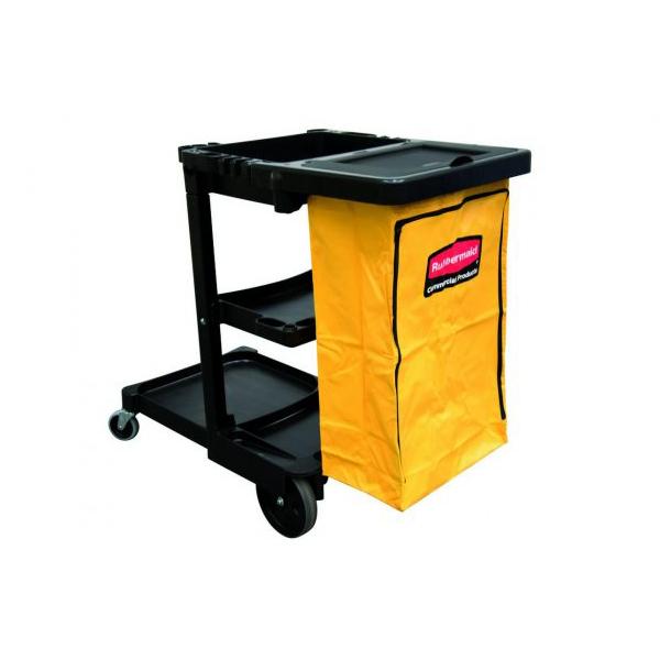 Carro de limpieza con 3 estantes y Bolsa de vinilo amarillo con tapa